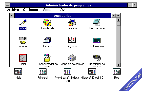 Formatos antiguos: Grupos de programa en Windows 3.11