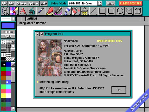 NeoPaint, un editor gráfico de la época del MSDOS