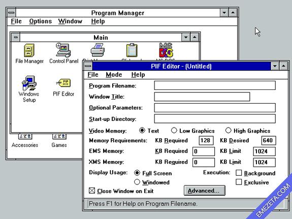 Editor de archivos PIF para Windows 3.11