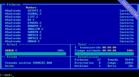 RAR / UNRAR: Compresor para MS-DOS