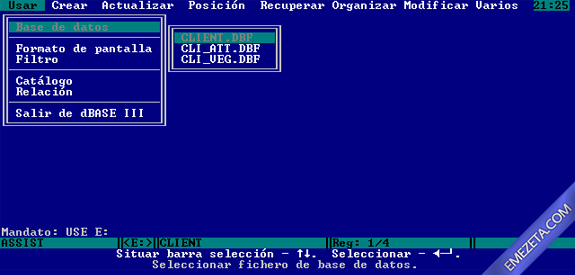 Formatos antiguos: dBase III plus