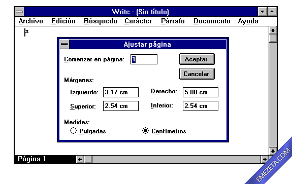 Formatos antiguos: Write windows 3.11