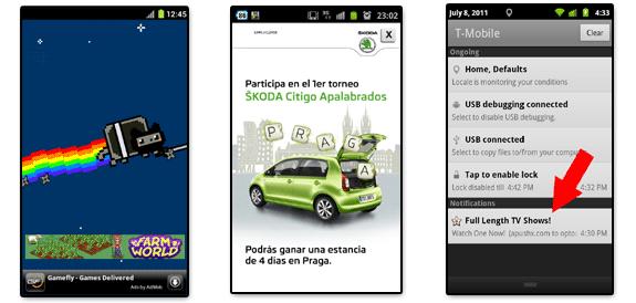 Publicidad: Tipos de anuncios (texto, gráficos, expansibles y airpush)