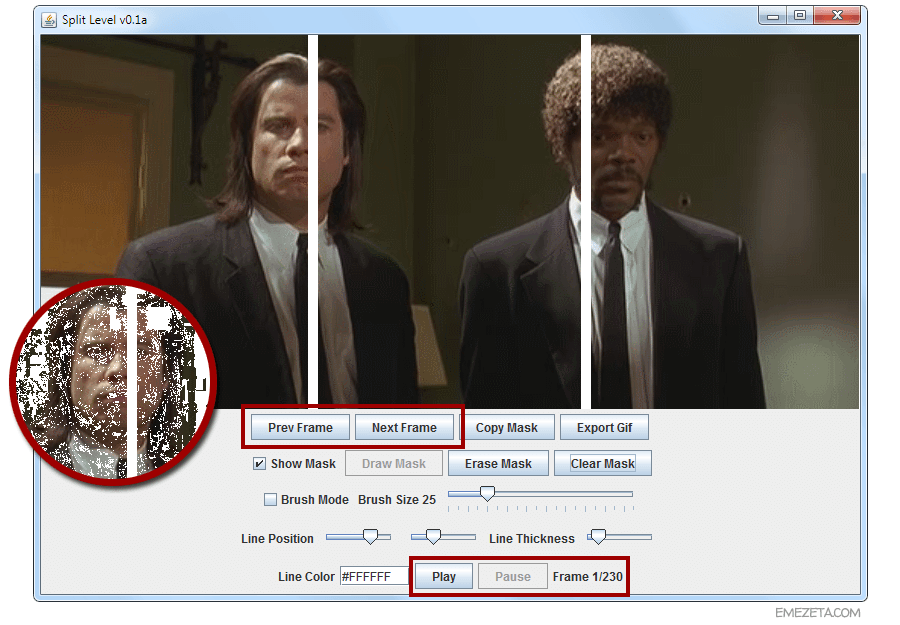 Moverse entre fotogramas de un GIF animado en Split Level