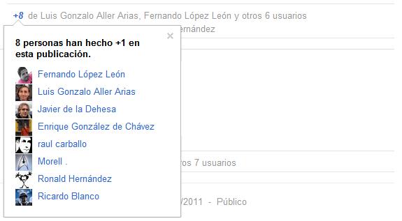 Google Plus (Google+): Personas que han hecho +1 en una publicación.