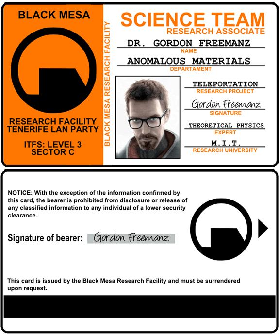 Tarjeta de identificación del cosplay del personaje Gordon Freeman (Half-life)