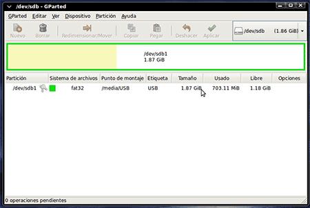 Administrador de discos Linux GParted