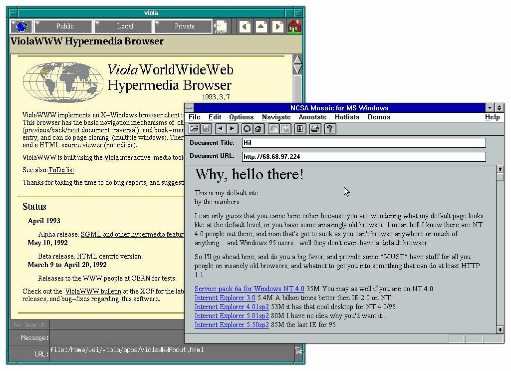 ViolaWWW y Mosaic, los primeros navegadores web