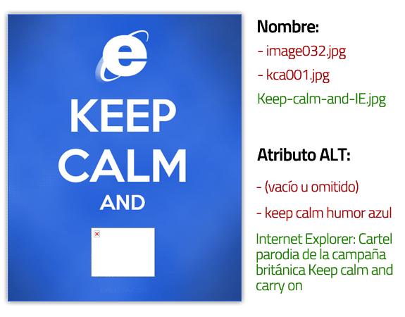 Guía de posicionamiento en Google: Consejos para imágenes con cartel parodia Keep calm and IE