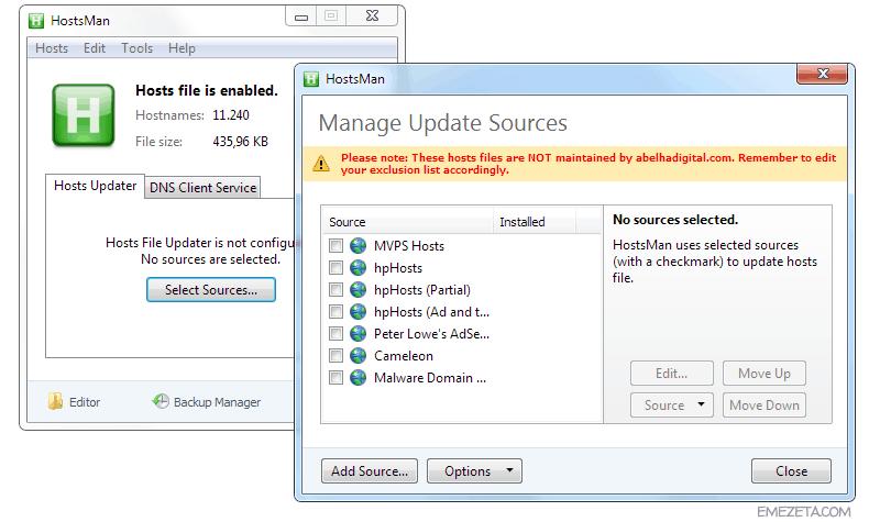Herramientas para administradores de sistemas: Hostsman (archivo hosts de Windows)