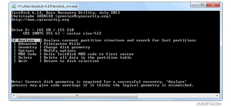 Herramientas para administradores de sistemas: Testdisk