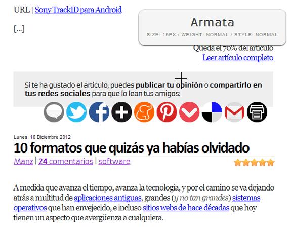 Fount: Bookmarklet para identificar la tipografía que se utiliza en una página web