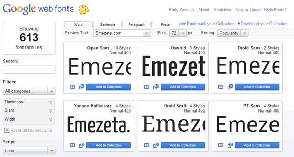Google web fonts: Tipografías preparadas para usar en nuestro sitio web
