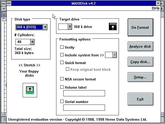 Versión para Windows 3.11 de MAXIDisk 4.2