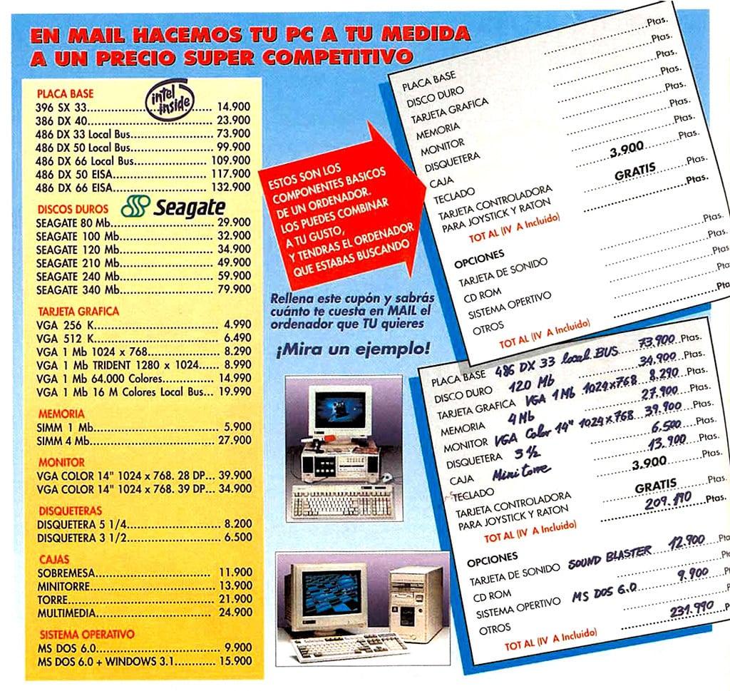 Precios de componentes informáticos en 1993 (España)