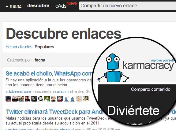 Herramientas y aplicaciones para Twitter: Karmacracy