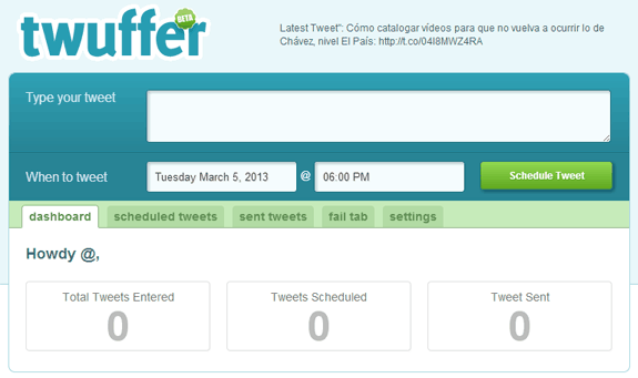 Programar tweets para una fecha o hora determinada: Twuffer