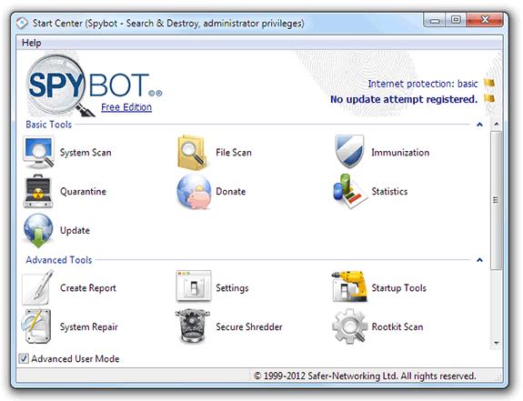 Spybot 2 Free Edition: Eliminar spyware y malware de nuestro equipo