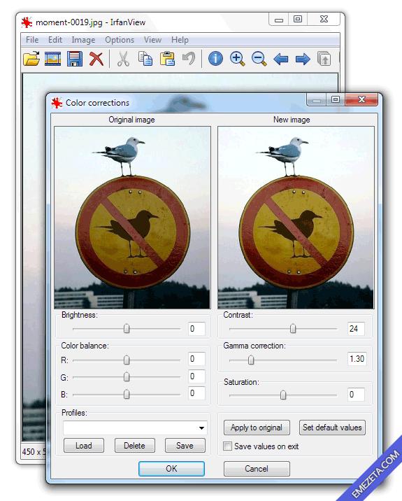 Aclarar imágenes con IrfanView: Brillo, Contraste, Saturación y Corrección gamma
