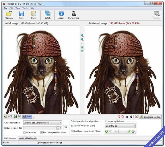 Editar imágenes con IrfanView: Optimizar imágenes con RIOT