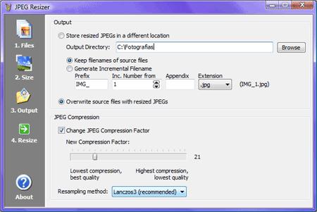 jpeg-resizer output ficheros reducir fotos