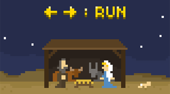run jesus run juego flash retro 8 bits pixel