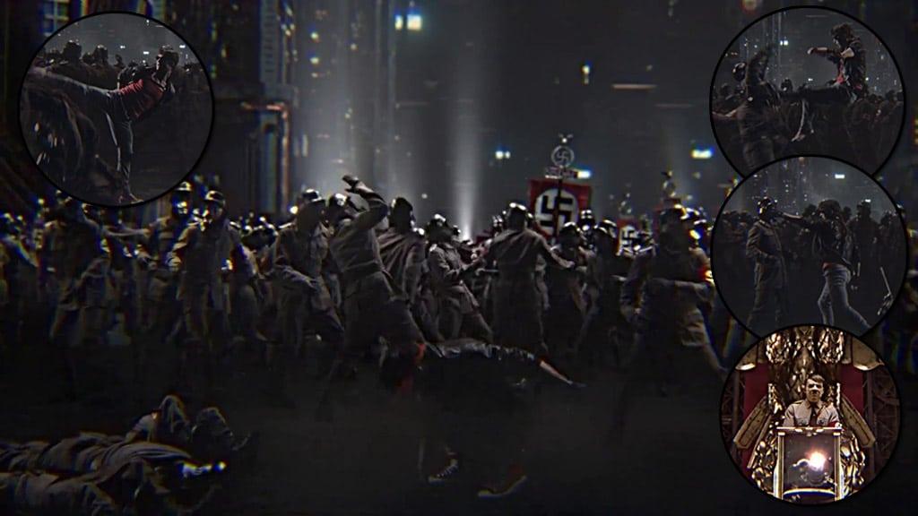 Escenas de pelea con los soldados nazi