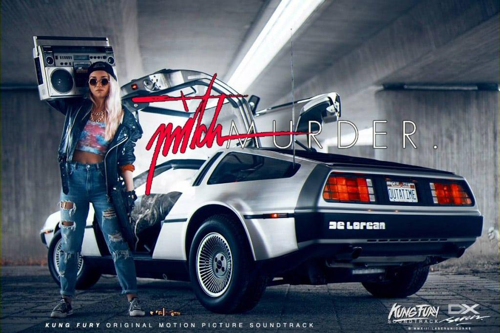 Portada de Mitch Murder, con un DeLorean (Regreso al futuro)