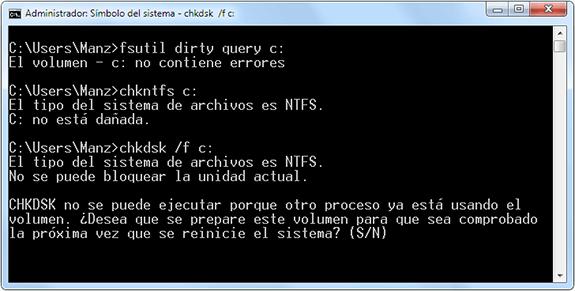 Disco dañado: fsutil, chkntfs o chkdsk