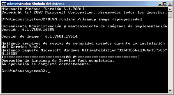 Eliminar archivos de backup del Service Pack 1 de Windows 7