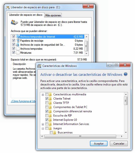 Liberar espacio en disco (cleanmgr) y Activar o desactivar características de Windows