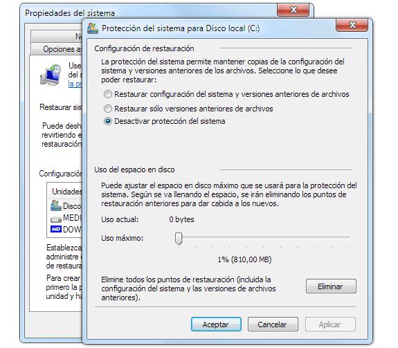 Protección del sistema (Desactivar restauración de Windows)