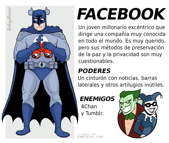 Superhéroes. Liga Justicia Internet: Facebook (Batman)