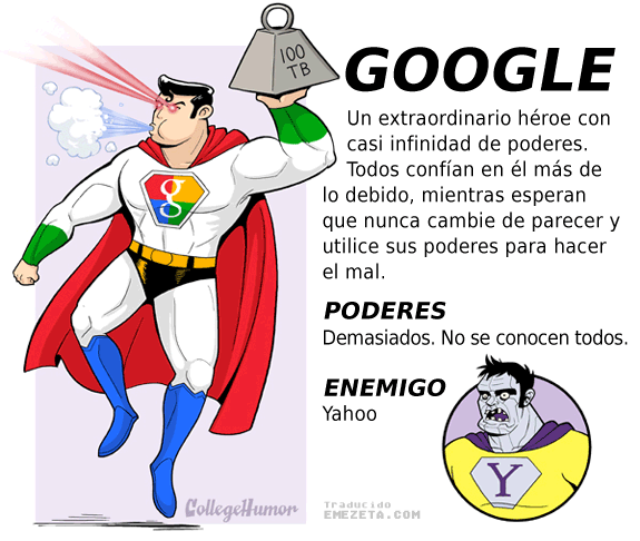 Superhéroes. Liga Justicia Internet: Google (Superman)