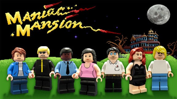maniac mansion lego piezas figuras