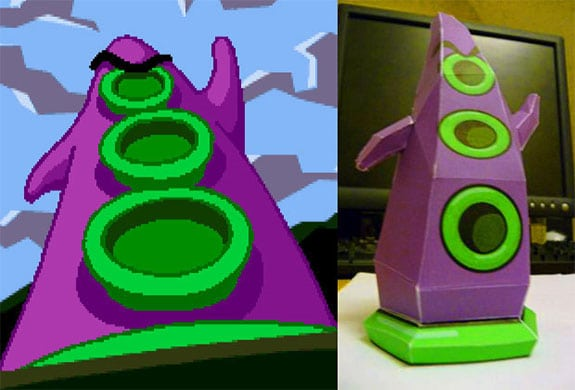 maniac mansion papercraft recortable tentaculo purpura