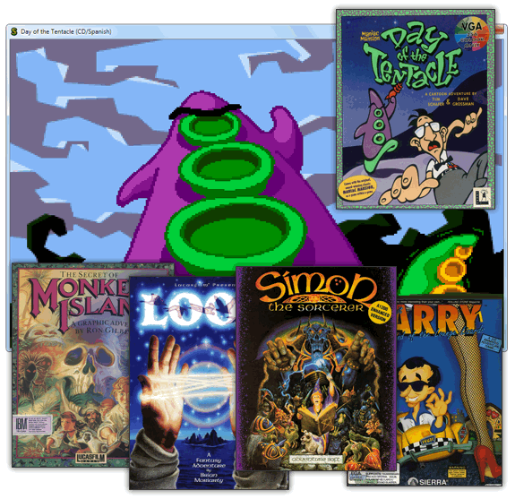 Juegos compatibles para ScummVM: Monkey Island, LOOM, Simon the Sorcerer, Leisure Larry, Dat of the Tentacle...