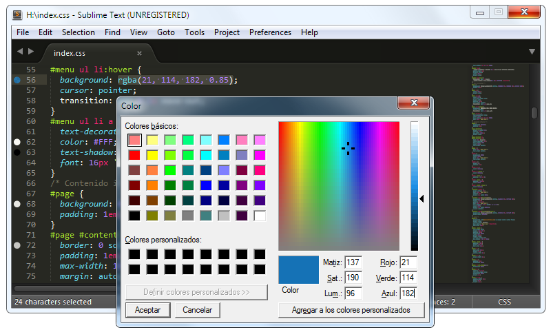 ColorPicker: Elegir colores CSS en Sublime Text