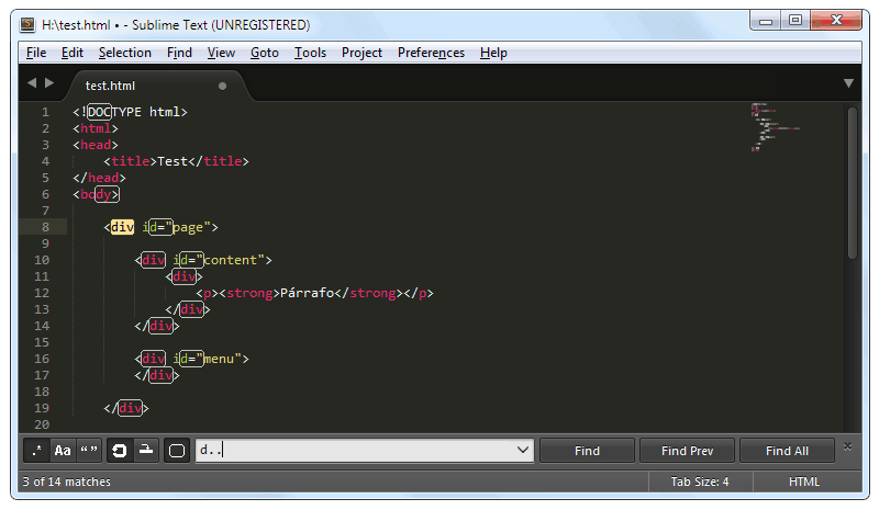 Sublime Text: Expresiones regulares