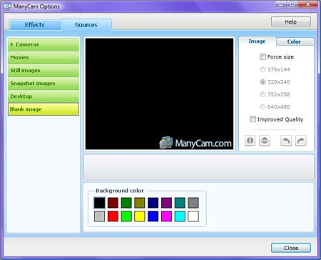 manycam webcam options