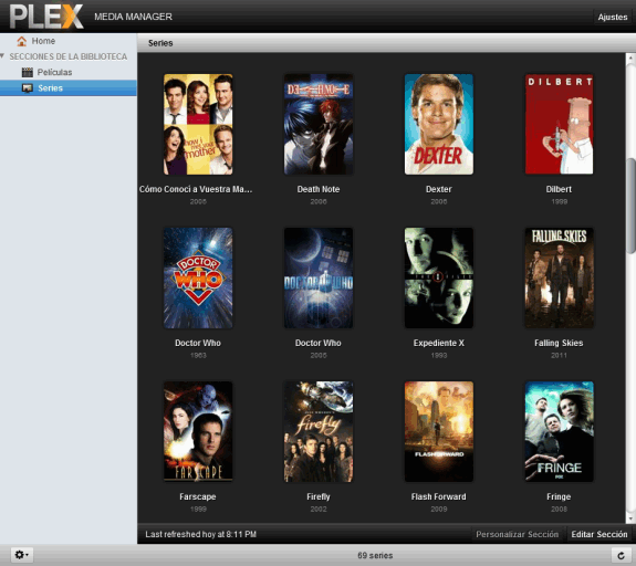 Plex Media Manager: Listado de series añadidas