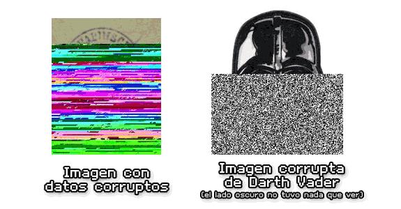 Representación gráfica de dos imágenes con los datos corruptos