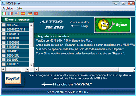 msn e-fix eliminar codigo errores