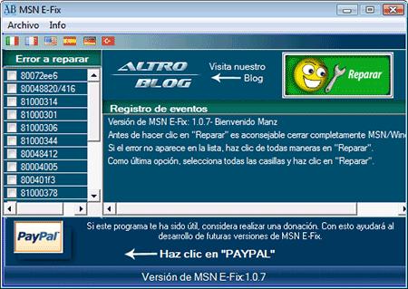 msn e-fix eliminar codigo errores