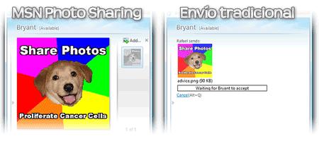 desactivar msn photo sharing envio tradicional compartir fotos