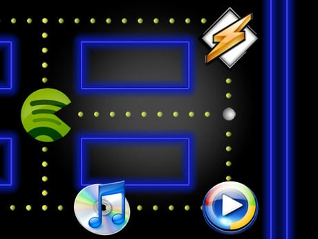 music pacman spotify winamp itunes windows media