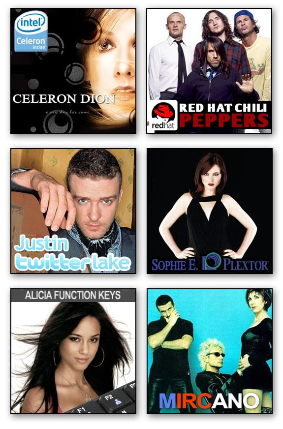 musicos PC informaticos celine dion red hot chili peppers justin timberlake sophie bextor alicia keys mecano