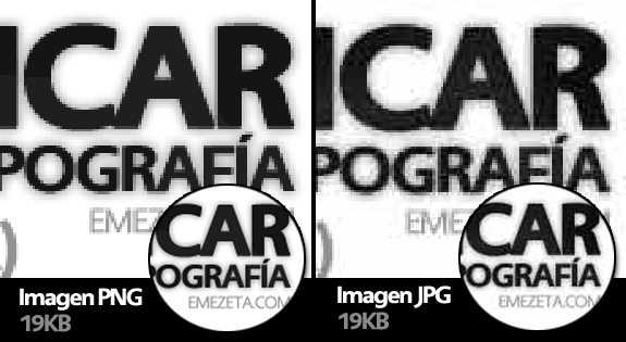Artefactos de compresión (artifacts) en imágenes JPG (compresión con pérdidas)