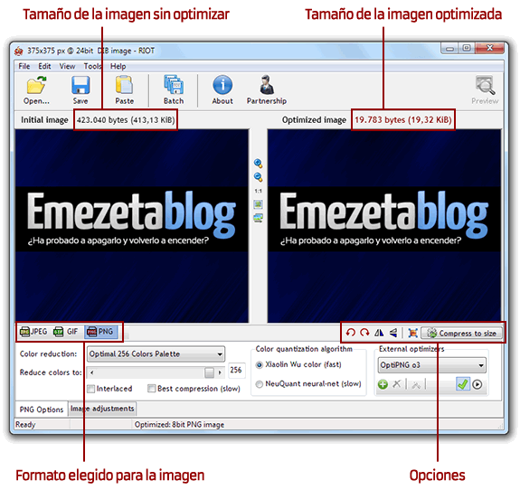 Optimizar imágenes: Optimizar imagenes con riot