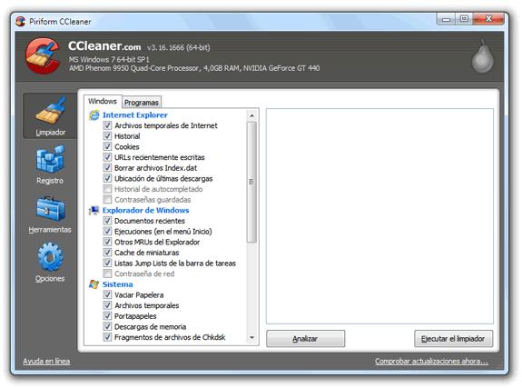 CCleaner: Limpiar archivos temporales y ficheros inútiles